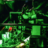 <span class=heading><b>Green light for electrons!</b> by Cristian Ciocarlan</span><br />Lasers play an integral role in our world today, and with constant progress