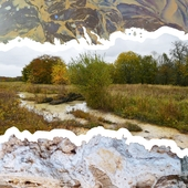 <span class=heading><b>Transforming industrial wastelands</b> by Marta Kalabová</span><br />Degrading industrial waste releases abundant, potentially toxic elements into surface waters (top). Our research explores tufa (a freshwater limestone, bottom) as an aid in cleaning dirty water in derelict industrial landscapes (center) - specifically, the simple yet versatile chemical reactions which lead to the formation of new minerals capable of consuming the contaminants. Such processes offer a nature-based, long-term and cost-effective restoration method for sites such as former steelworks and mining districts.<br /><span class=small>Image: © 2021 Marta Kalabová</span>
