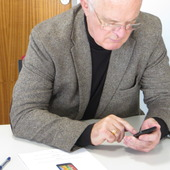 <span class=heading><b>Never too old to text</b> by Mark Dunlop</span><br />As part of a two year EPSRC funded research grant, we are investigating mobile text entry for older adults. Text entry is still a key part of mobile interaction, but some effects of ageing can make it more difficult to use. Our research involves prototype development and testing with groups of superbly supportive older adults. The first design of this app is being released on app stores soon.<br /><span class=small>Image: &copy; 2015 Mark Dunlop</span>. &nbsp;<span class=small>Collaborators: Emma Nicol and Andreas Komninos (both CIS)</span>