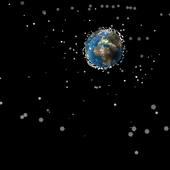 <span class=heading><b>Pollution beyond our planet</b> by Stuart Grey</span><br />This image shows man-made space debris, ranging in size from a paint fleck to a double-decker bus, which accumulated in a single year. Travelling faster than a bullet, this debris can potentially take down our communications and Global Positioning System (GPS), and even prevent manned space flight. Our research aims to predict how space debris moves over time, allowing us to develop a clean-up strategy to tackle this global problem.<br /><span class=small>Image: © 2017 Stuart Grey</span>