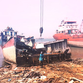 <span class=heading><b>Sustainability without sacrifice</b> by Siti Fariya</span><br />Whilst ship recycling in places such as Indonesia (pictured) may be considered environmentally beneficial in a wide context, it actually has significant negative impacts to worker health and the local environment. Health and environmental safeguards are often viewed as costly to profit, however,working with Newtonfund – British Council and RISTEKDIKTI,we are developing an integrated framework to enhance both safety and productivity in the industry, whilst also benefitting the environment.<br /><span class=small>Image: © 2020 Siti Fariya</span>. <span class=small>Collaborators: Rafet Emek Kurt, Sefer Anil Gunbeyaz</span>