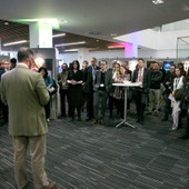 <span class=heading><b>Images of Research</b> by Guy Hinks</span><br /><p class=int>Principal Professor Sir Jim McDonald opens the Images of Research 2015 exhibition at Engage with Strathclyde 2015.</p><span class=small>Image: &copy; 2018 Guy Hinks 2015</span>