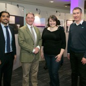<span class=heading><b>Images of Research</b> by Guy Hinks</span><br /><p class=int>Professor Sir Jim McDonald standing with 3 winners of their categories, Mohammad Salamati, Kirsty Ross and Damien Frame.</p><span class=small>Image: &copy; 2018 Guy Hinks 2015</span>