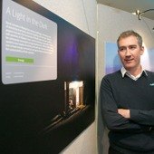 <span class=heading><b>Images of Research</b> by Guy Hinks</span><br /><p class=int>Winner Damien Frame with his entry, &rsquo;A Light in the Dark&rsquo;.&nbsp;</p><span class=small>Image: &copy; 2018 Guy Hinks 2015</span>