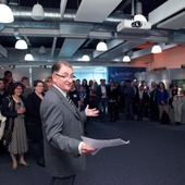 <span class=heading><b>2014</b></span><br /><p class=int>The Principal Prof. Sir Jim McDonald announcing the category winners and commended entries.&nbsp;</p><span class=small>Image: &copy; 2014 Guy Hinks</span>