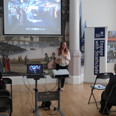 <span class=heading><b>Images of Research</b> by Rachel Clark</span><br /><p class=int>Megan McGurk giving her introduction to the Images of Research competition and the two speakers of the day; Kirsty Ross and Sibani Mohanty.</p><span class=small>Image: &copy; 2017 Rachel</span>