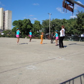 <span class=heading><b>Dance Lesson in Havana</b> by Rebecca Gordon-Nesbit (Geography and Sociology)</span><br /><p class=int>In the years following the 1959 Cuban Revolution, culture was placed at the heart of society on the understanding that aesthetic experience could contribute to human happiness. For a PhD project examining the cultural policy developed in Cuba between the 1950s and the 1970s, Rebecca Gordon-Nesbitt spent five months conducting fieldwork in Havana. It was there that her eye was caught by a group of primary school students having a dance lesson in a sunny playground. This image captures the centrality of colour in Cuba, the vibrant leotards of the dancers standing out against the faded blue colonial façade of their school and the burgundy uniforms of their contemporaries in a scene encircled by rainbow paper chains. In the process, the joy of the dancing children conveys the effect of prioritising social understandings of culture. Rebecca's research – which was recently awarded a doctorate – contributes to our understanding of this process.</p><span class=small>Image: © 2012 Rebecca Gordon-Nesbit</span>