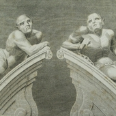 <span class=heading><b>&rsquo;Figures over the Gateway of Bethlem Hospital&rsquo; 1805 engraved by A. Birrell for Lambert&rsquo;s &rsquo;History of London&rsquo;</b> by Claire Hyland (Architecture)</span><br />Throughout history society has discriminated against and segregated people with cognitive, sensory and physical impairments, and the built environment has contributed to this in various ways. Cibber&rsquo;s sculpture of two brothers, melancholy and mania, positioned above the gate of the notorious Bethlem Hospital in London is a shameful reminder of this past. However the disability movement has offered us a unique opportunity to re-imagine architectural design which can enable rather than disable. Education is a main priority in creating a more equal society and my research focuses on creating inclusive school environments which are fit for 21st century education. <br /><span class=small>Photograph reproduced by kind permission of the Bethlem Art and History Collections Trust</span>