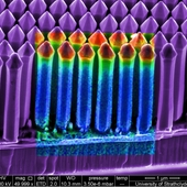 <span class=heading><b>Nano-pencils to light our world</b> by Paul Edwards (Physics)</span><br />Light-emitting diodes (LEDs) will reduce global energy demand for lighting applications, but can be made more efficient when shaped into nano-scale structures. Here is an electron microscope image of a gallium nitride LED in which pencil-shaped columns have been formed. The centre shows the light emitted when electrons hit the device - a phenomenon called cathodoluminescence. The colours show the brightness of different peaks in the spectrum of this luminescence: regions emitting blue, violet and ultra-violet light are displayed in red, green and blue respectively. The information yielded by such measurements is essential in optimising the complex fabrication processes behind such devices.<br /><span class=small>Image: &copy; 2013 Paul Edwards</span>. &nbsp;<span class=small>Research by Paul Edwards from Physics in collaboration with Robert Martin (Physics), and with Philip Shields and co-workers from the University of Bath</span>